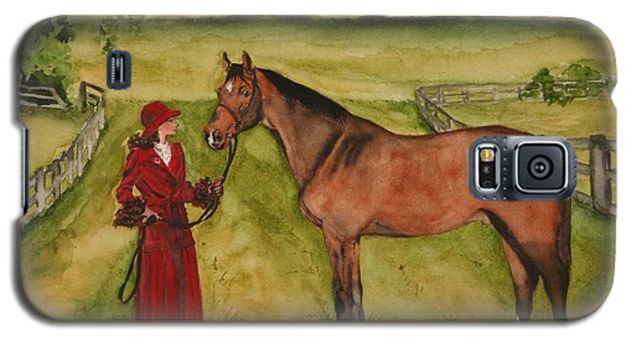 Horse Galaxy S5 Case featuring the painting Lady And Horse by Jean Blackmer