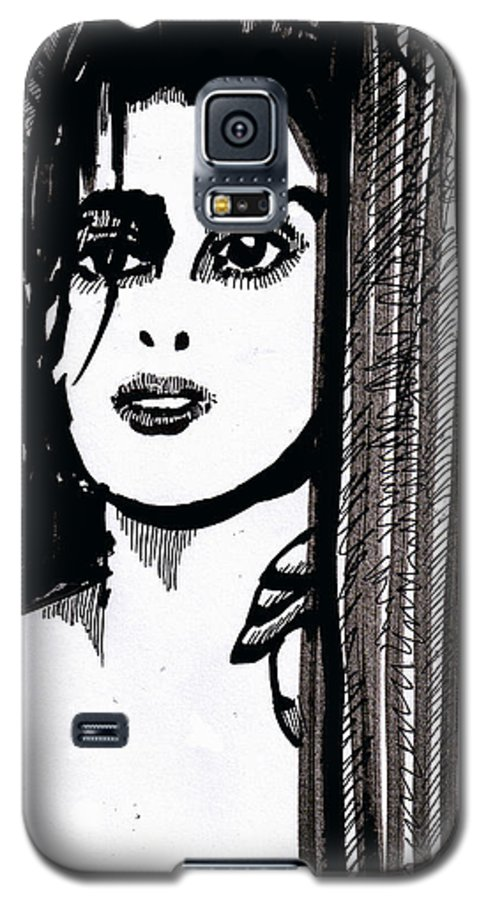 Sad Lady Galaxy S5 Case featuring the drawing Lady At The Door by Seth Weaver