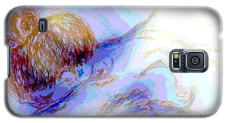 Lady Galaxy S5 Case featuring the digital art Lady Crying by Shelley Jones