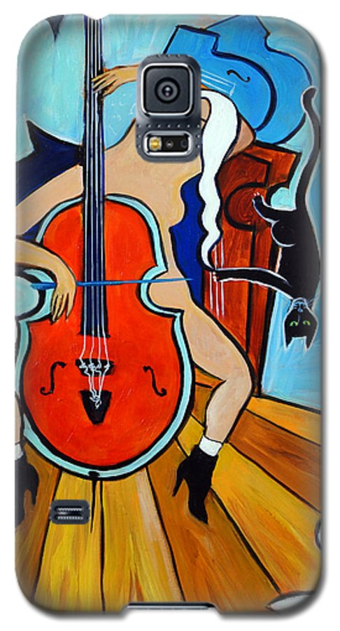 Musicians Galaxy S5 Case featuring the painting Lady In Red by Valerie Vescovi