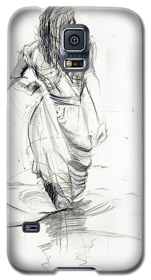 Woman Galaxy S5 Case featuring the drawing Lady In The Waters by Kerryn Madsen-Pietsch