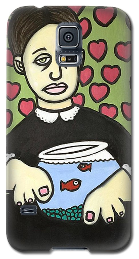 Galaxy S5 Case featuring the painting Lady With Fish Bowl by Thomas Valentine