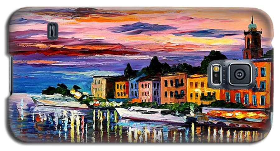 Cityscape Galaxy S5 Case featuring the painting Lake Como - Bellagio by Leonid Afremov
