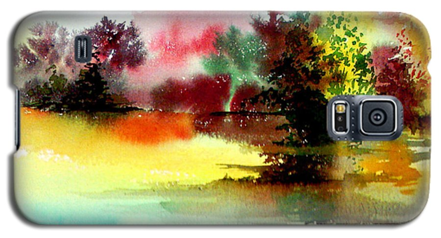 Nature Galaxy S5 Case featuring the painting Lake In Colours by Anil Nene