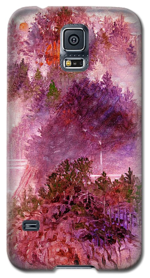 Landscape Galaxy S5 Case featuring the painting Lake Memories by John Lautermilch