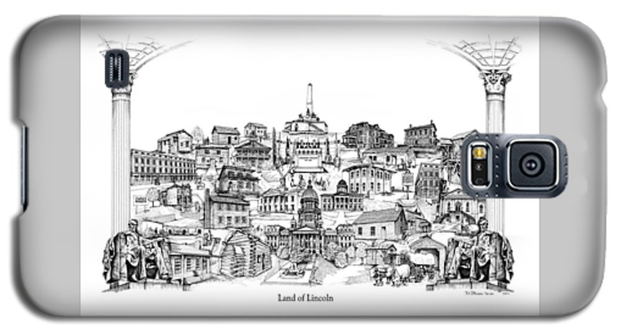 City Drawing Galaxy S5 Case featuring the drawing Land Of Lincoln by Dennis Bivens