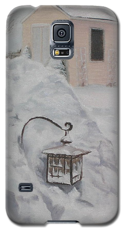 Snow Galaxy S5 Case featuring the painting Lantern In The Snow by Lea Novak