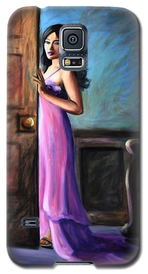 Woman Galaxy S5 Case featuring the painting Last Glance by Maryn Crawford