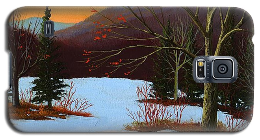 Winter Galaxy S5 Case featuring the painting Last Light Of Day by Frank Wilson