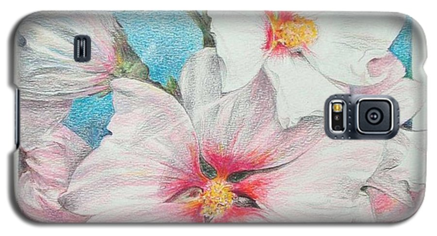 Flower Galaxy S5 Case featuring the painting Lavater by Muriel Dolemieux