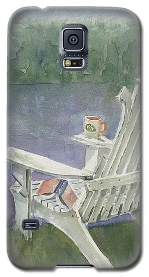 Chair Galaxy S5 Case featuring the painting Lawn Chair By The Lake by Arline Wagner