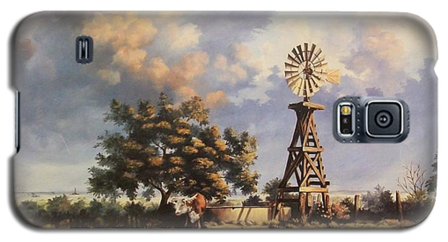 A New Mexico Landscape. Galaxy S5 Case featuring the painting Lea County Memories by Wanda Dansereau