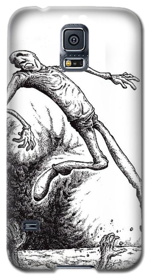 Black And White Galaxy S5 Case featuring the drawing Leap by Tobey Anderson