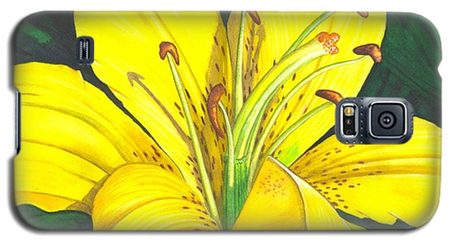 Lily Galaxy S5 Case featuring the painting Lemon Lily by Catherine G McElroy