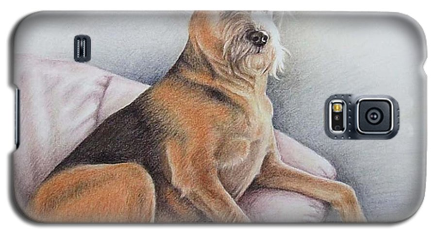 Dog Galaxy S5 Case featuring the pastel Lena by Nicole Zeug