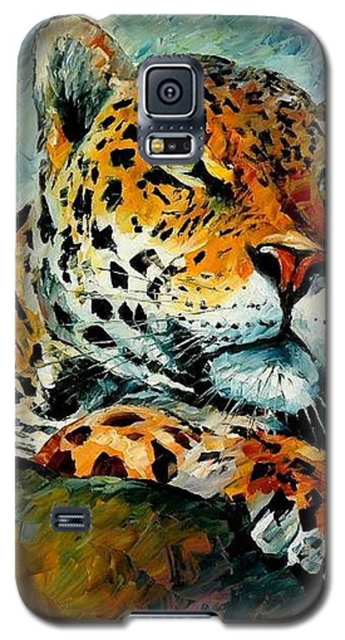 Animals Galaxy S5 Case featuring the painting Leopard by Leonid Afremov