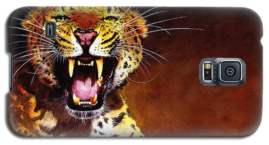 Leopard Galaxy S5 Case featuring the painting Leopard by Paul Dene Marlor