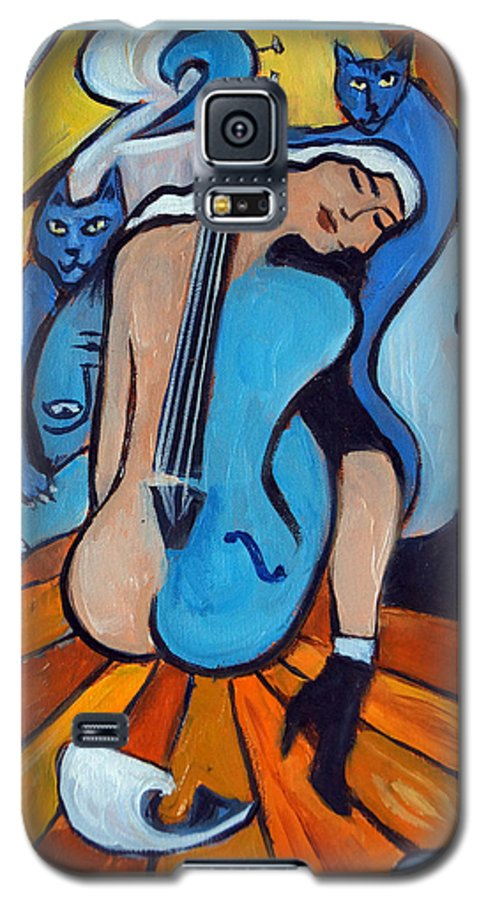 Cubic Abstract Galaxy S5 Case featuring the painting Les Chats Bleus by Valerie Vescovi