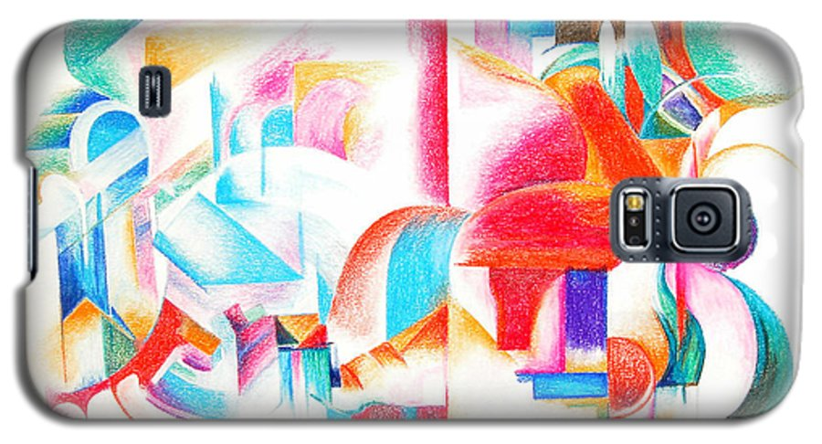 Abstract Galaxy S5 Case featuring the drawing Les Temps Modernes by Muriel Dolemieux