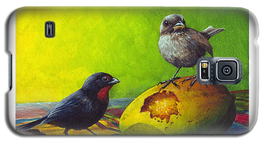 Chris Cox Galaxy S5 Case featuring the painting Lesser Antillean Bullfinches And Mango by Christopher Cox
