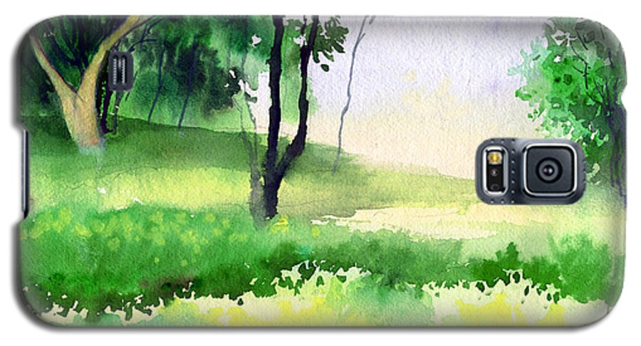 Watercolor Galaxy S5 Case featuring the painting Let's Go For A Walk by Anil Nene