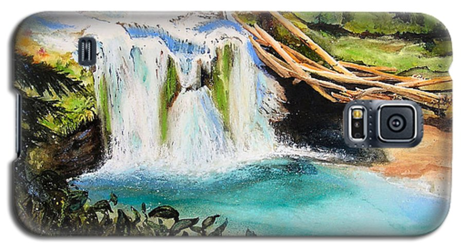 Water Galaxy S5 Case featuring the painting Lewis River Falls by Karen Stark