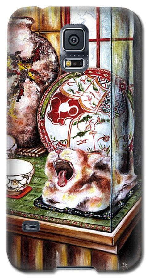 Cat Galaxy S5 Case featuring the painting Life Is Beautiful by Hiroko Sakai