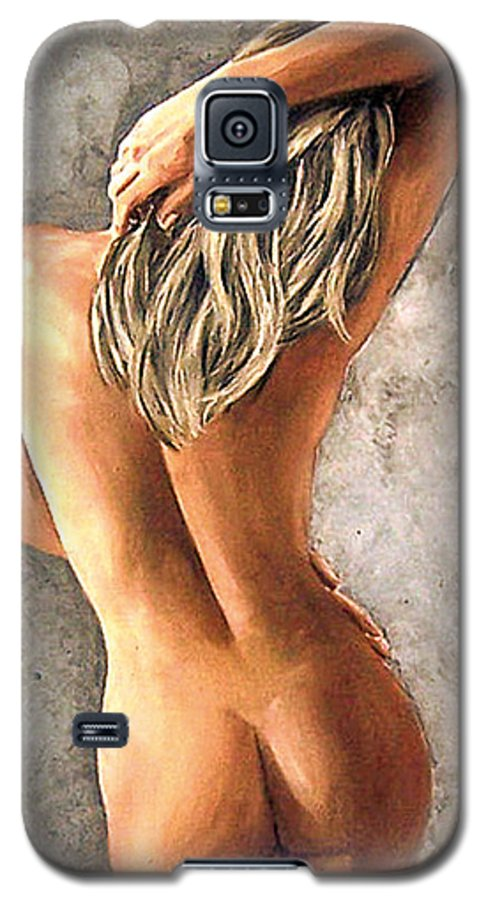 Portrait Galaxy S5 Case featuring the painting Light And Nudity by Natalia Tejera
