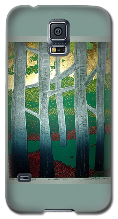 Landscape Galaxy S5 Case featuring the mixed media Light Between The Trees by Jarle Rosseland
