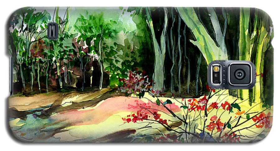 Watercolor Galaxy S5 Case featuring the painting Light In The Woods by Anil Nene