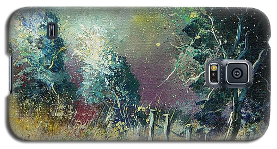 Landscape Galaxy S5 Case featuring the painting Light On Trees by Pol Ledent