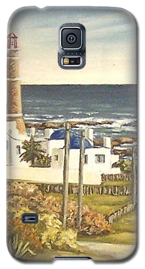Lighthouse Seascape Sea Water Uruguay Galaxy S5 Case featuring the painting Lighthouse Uruguay by Natalia Tejera