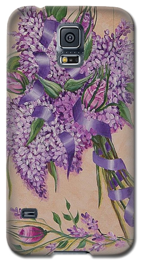 Lilacs Galaxy S5 Case featuring the painting Lilacs by Quwatha Valentine