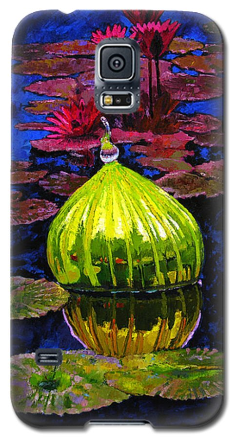 Blown Glass Galaxy S5 Case featuring the painting Lilies And Glass Reflections by John Lautermilch