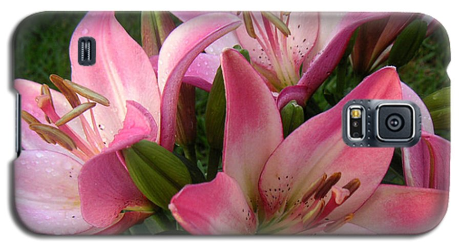 Nature Galaxy S5 Case featuring the photograph Lilies In Company by Lucyna A M Green