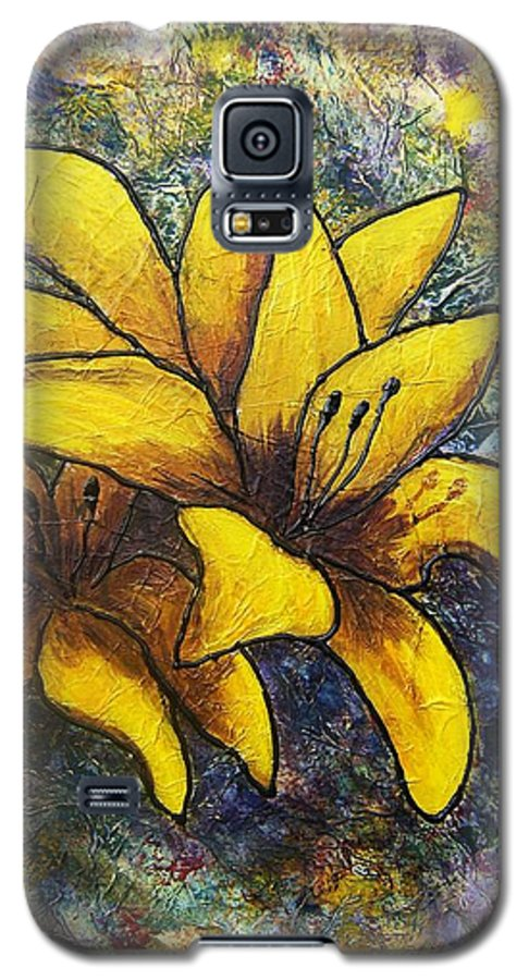 Flowers Galaxy S5 Case featuring the painting Lilies by Tami Booher