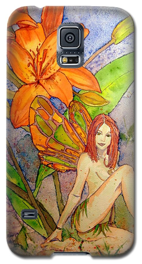 Faerie Galaxy S5 Case featuring the painting Lillian Keeper Of Both Wealth And Pride - Watercolor by Donna Hanna