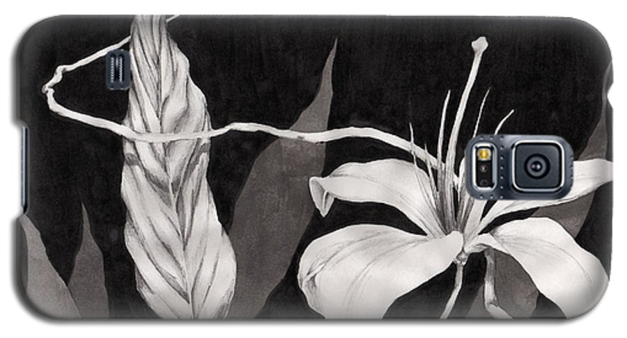 Ink Painting Galaxy S5 Case featuring the drawing Lily In The Night by Jennifer McDuffie