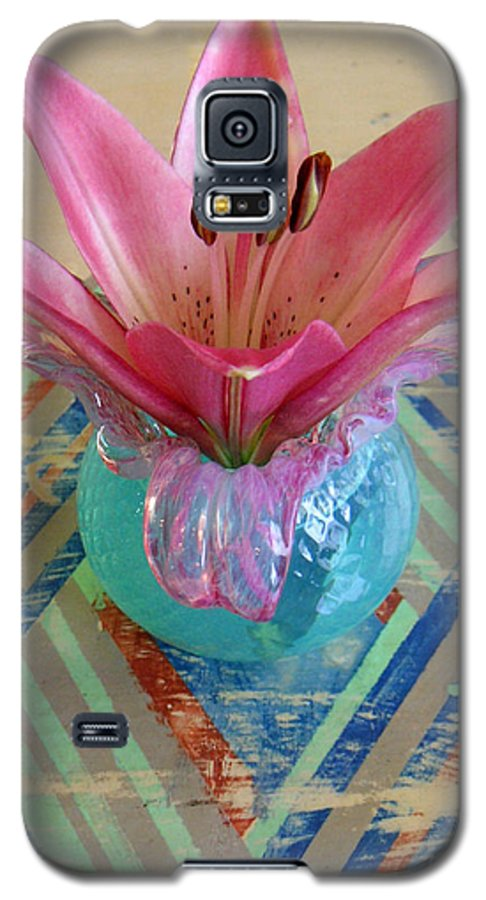 Nature Galaxy S5 Case featuring the photograph Lily On A Painted Table Too by Lucyna A M Green