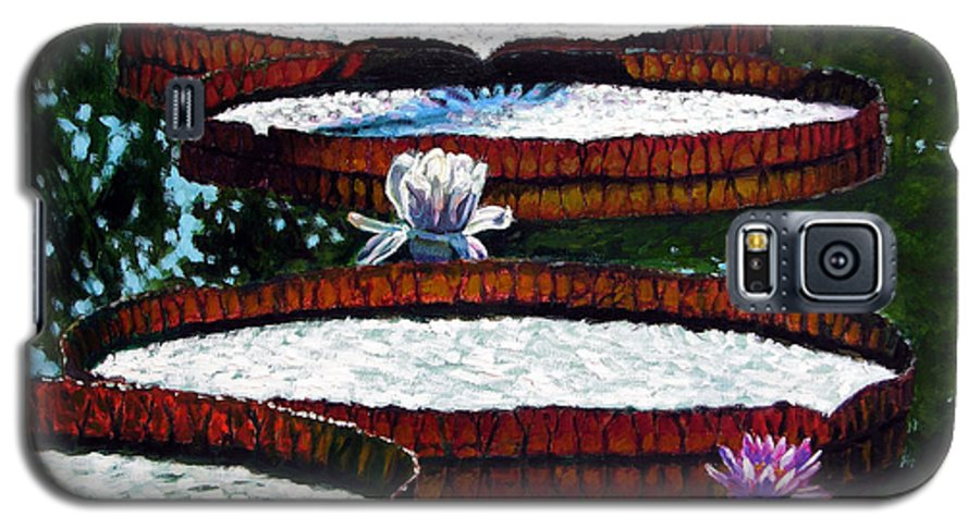 Garden Pond Galaxy S5 Case featuring the painting Lily Pad Highlights by John Lautermilch