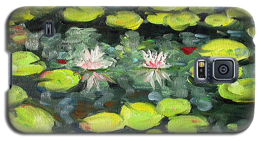 Pond Galaxy S5 Case featuring the painting Lily Pond by Paul Walsh