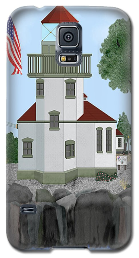 Lighthouses Galaxy S5 Case featuring the painting Lime Kiln Light On San Juan Island by Anne Norskog