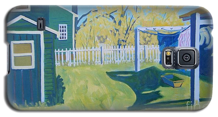 Backyard Galaxy S5 Case featuring the painting Line Of Wash by Debra Bretton Robinson