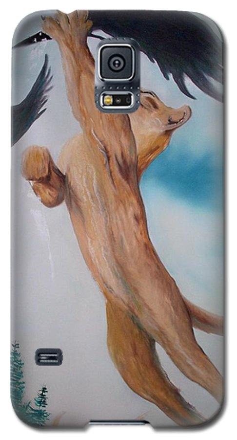 Lion Galaxy S5 Case featuring the painting Lion King by Patrick Trotter