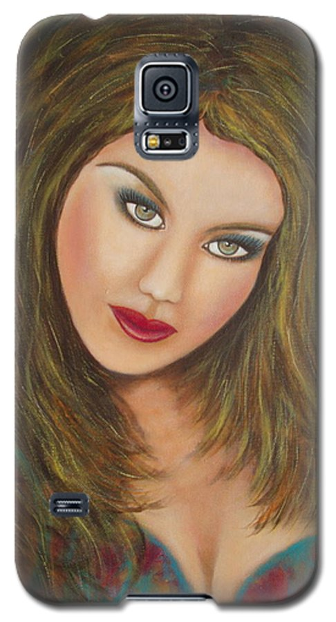 Portrait Galaxy S5 Case featuring the painting Lioness by Natalie Holland