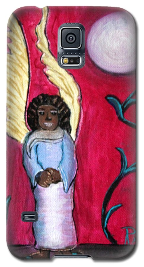 Beautiful Black Angel With Long Gold Wings Galaxy S5 Case featuring the painting Little Angel by Pilar Martinez-Byrne