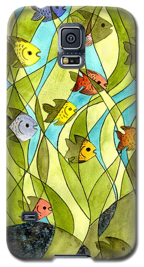 Fish Galaxy S5 Case featuring the painting Little Fish Big Pond by Catherine G McElroy