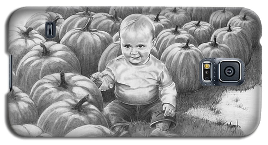 Charity Galaxy S5 Case featuring the drawing Little Pumpkin by Murphy Elliott