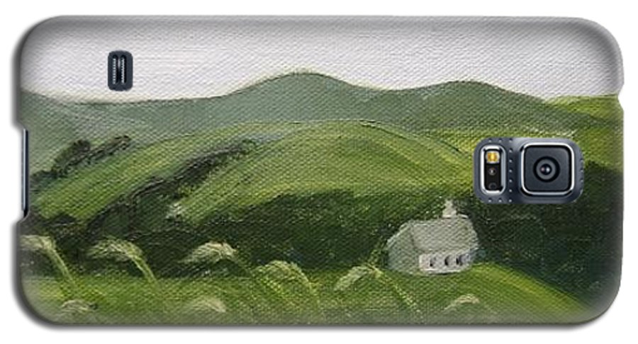 Landscape Galaxy S5 Case featuring the painting Little Schoolhouse On The Hill by Toni Berry