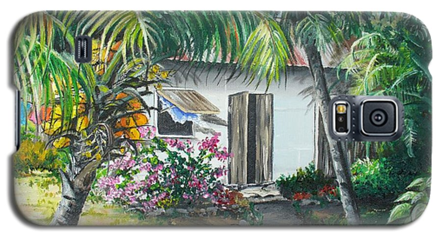 Caribbean Painting Typical Country House In Trinidad And The Islands With Coconut Tree Tropical Painting Galaxy S5 Case featuring the painting Little West Indian House 2...sold by Karin Dawn Kelshall- Best